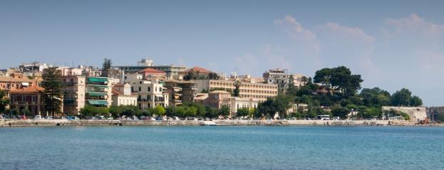 Apartments along the Adriatic Sea coastline, Corfu, Greece
