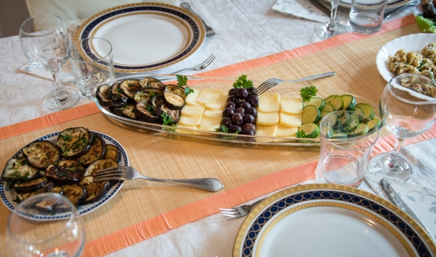 Appetizers- eggplant, cheese, olives, zucchini, fried mussels -- at Vlasta Mandic's