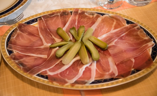 Appetizers-  proscuitto and gherkins -- at Vlasta Mandic's