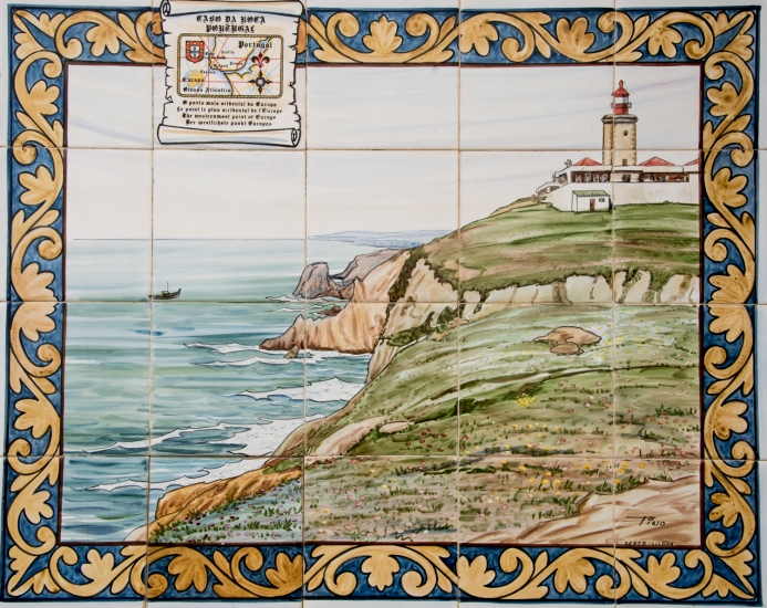 Artist's rendition in Portuguese tile of Cabo da Roca, Continental Europe's westernmost point, Portugal