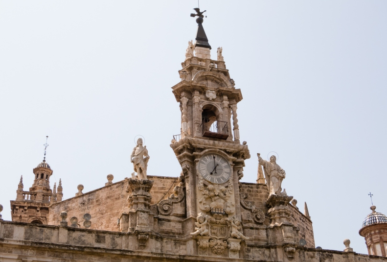 Building ornamentation and clock tower, Valencia, Spain