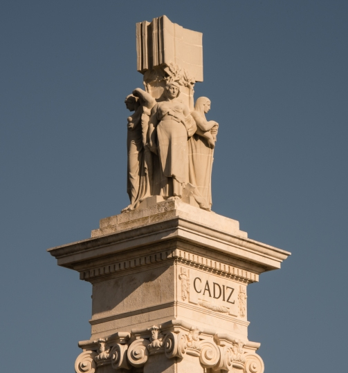 Cadiz column in Plaza de Espana in Casco Antiguo (Old Town), Cadiz, Spain