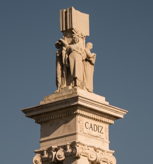 Cadiz column in Plaza de Espana in Casco Antiguo (Old Town), Cadiz, Spain