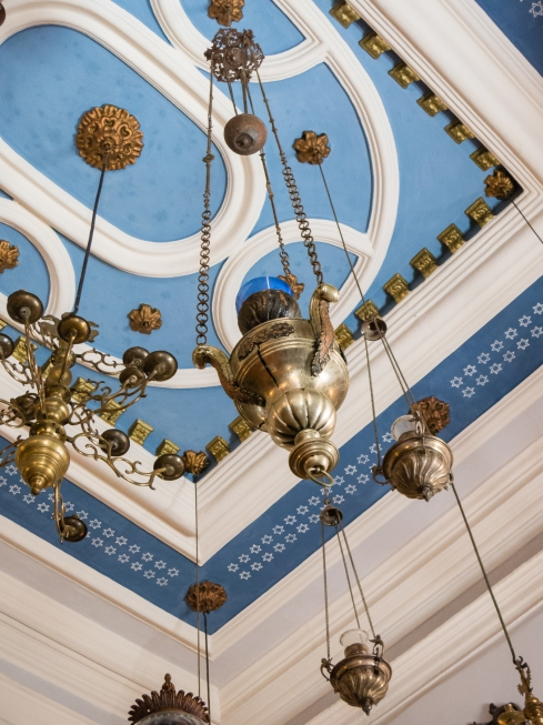 Ceiling and ceremonial lamps, Synagogue, Dubovnik, Croatia