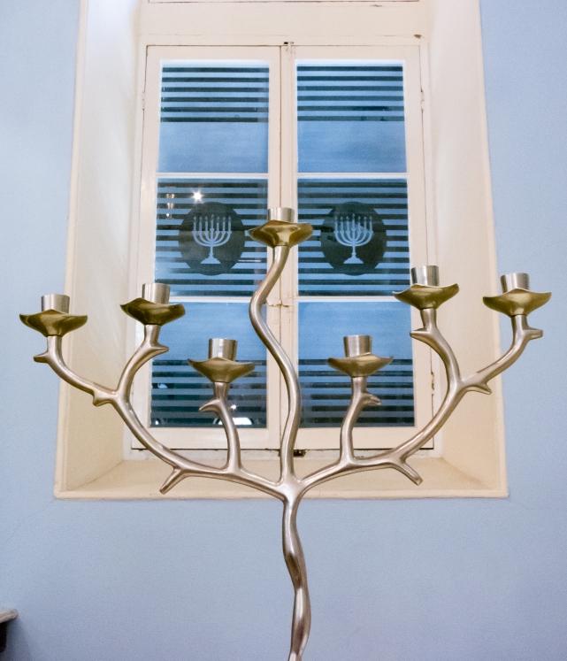 Ceremonial candelabra and window at the Scuola Greca Synagogue, Corfu, Greece