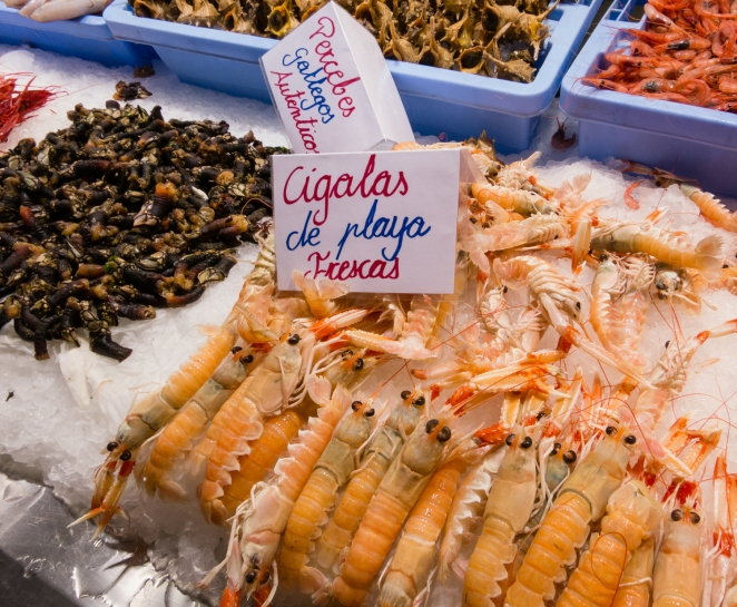 Cigalas (scampi) at Mercado Central (Central Market), Valencia, Spain