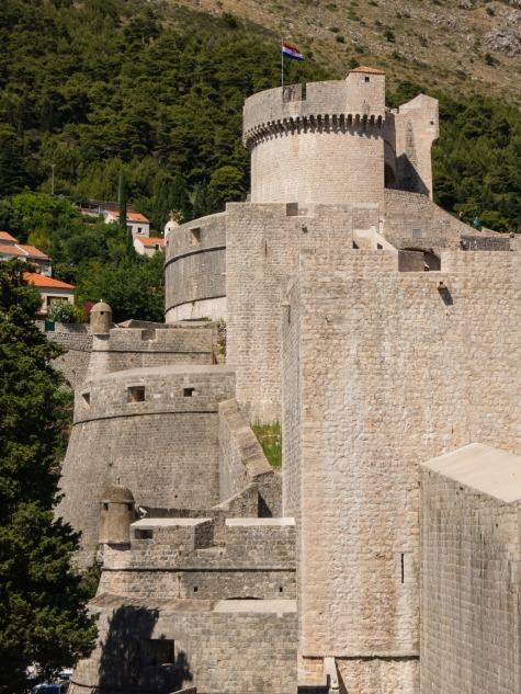 City wall, looking to the northwest (the highest tower), Dubrovnik, Croatia