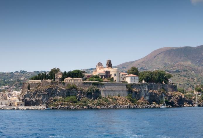 Clif with Roman era Acropolis and Baroque-style Catterdale di San Bertolomeo, Lipari Town, Lipari, Italy