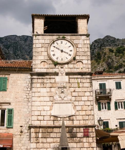 Clock tower in Stari Grad (Old Town), Kotor, Montenegro