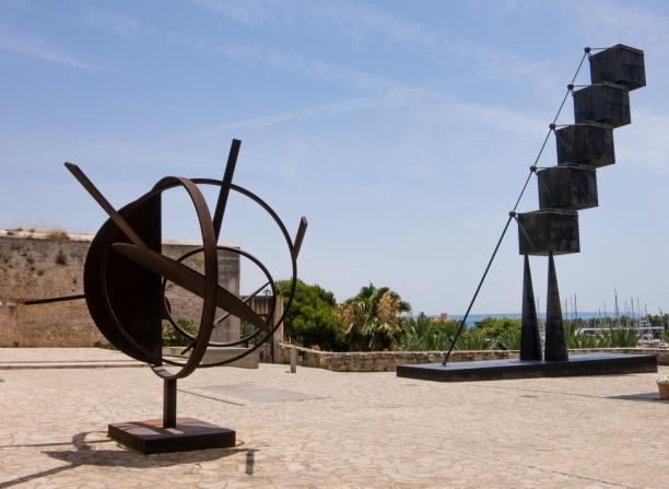 Contemporary Spanish sculptures atop the old fortress wall at Es Baluard, Palma de Mallorca, Mallorca, Spain