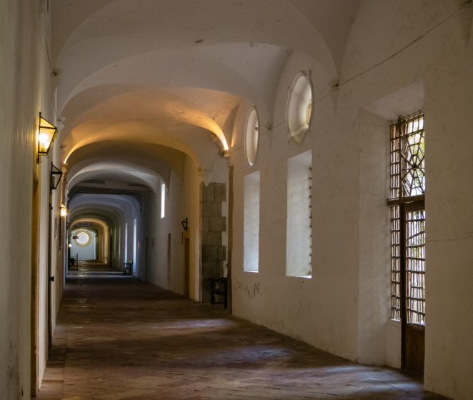 Corridor of the monks' cells at the Real Cartuja de Valldemossa (the Royal Carthusian Monastery), Valldemossa, Mallorca, Spain
