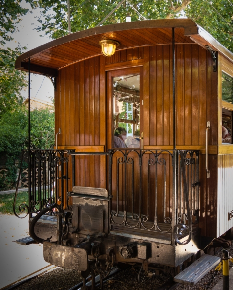 Craftsmanship details of carriage, Ferrocarril (narrow-guage railway) de Sóller, Sóller, Mallorca, Spain