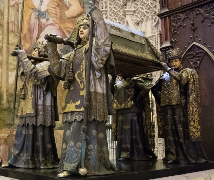 Cristobal Colon's (English -- Christopher Columbus) tomb in Catedral de Santa María de la Sede (Cathedral of Saint Mary of the See), better known as Seville Cathedral, Sevilla, Spain