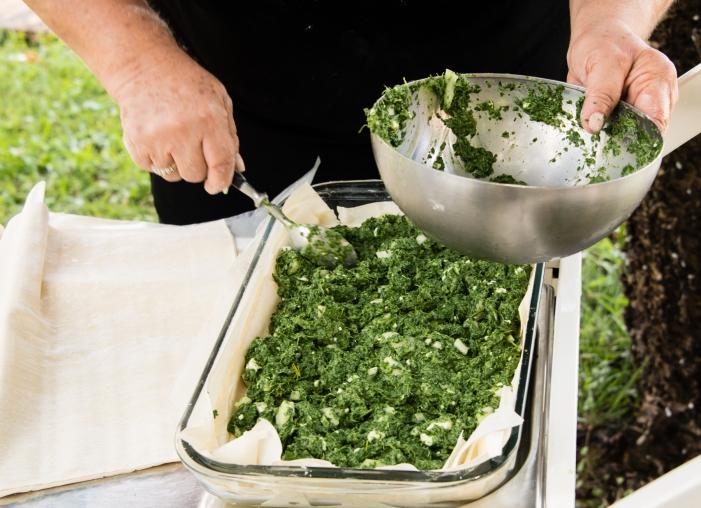 Demonstration -- making Greek Spinach Pie -- Spanakopita