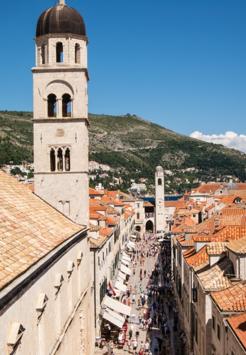 """Dubrovnik's main street, """"The Placa"""" (Placa Stradun), viewed from atop the city wall at the west side of town (near the Pile gate)"""
