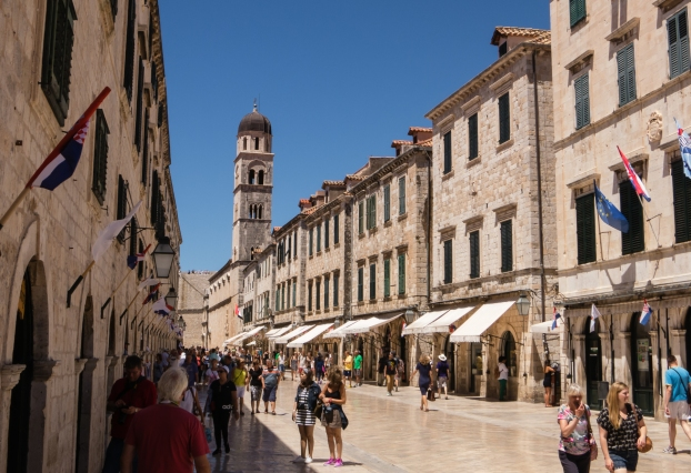 """Dubrovnik's main street, """"The Placa"""" (Placa Stradun), viewed from the east side of town (near the Ploce gate)"""