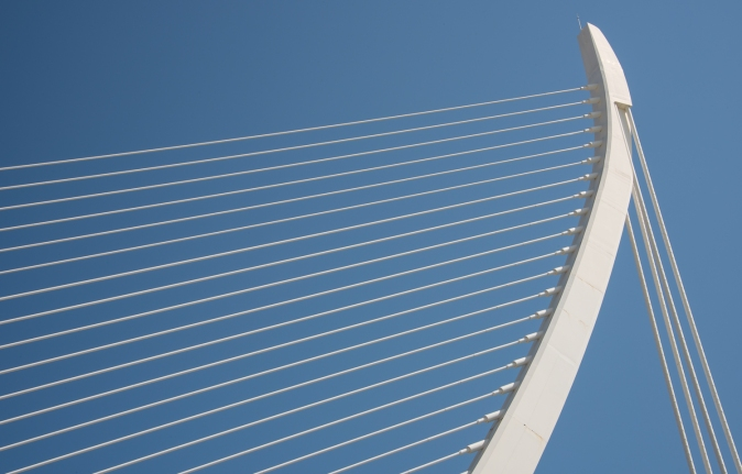 El Pont de l'Assut de l'Or (suspension bridge that connects with Minorca Street, City of Arts and Sciences, Valencia, Spain