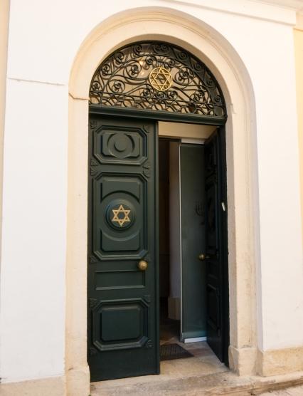 Entrance to Scuola Greca Synagogue (Templo Greco), Corfu, Greece