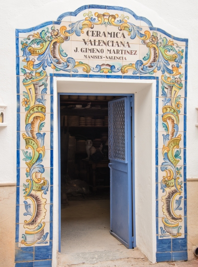 Entrance to the family owned creamics factory, Ceramica Vallencia, owned by J. Gimeno Martinez in the Manises district on the north of Valencia, Spain