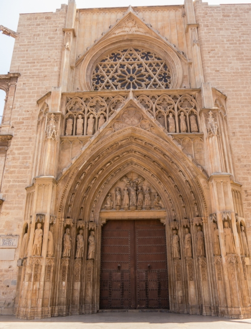 Entrance to the Valencia Cathedral from the Plaza de la Virgen, Valencia, Spain