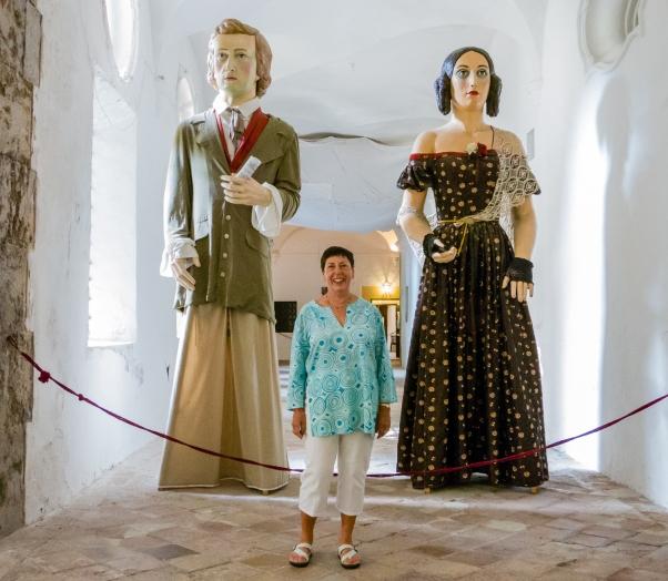Festival giants at the Real Cartuja de Valldemossa (the Royal Carthusian Monastery), Valldemossa, Mallorca, Spain
