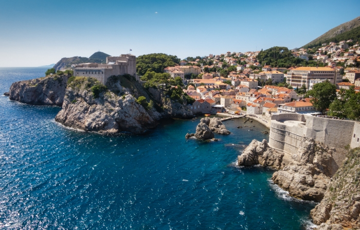 Fort Lovrijenac and the modern Dubrovnik, north of the old city wall, Croatia
