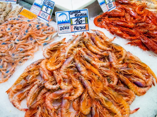 Gamba Rayada & Rojo (shrimp & red shrimp) at Mercado Central (Central Market), Valencia, Spain