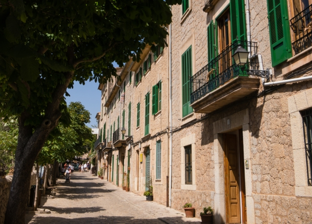 Hillside street of homes, Valldemossa, Mallorca, Spain