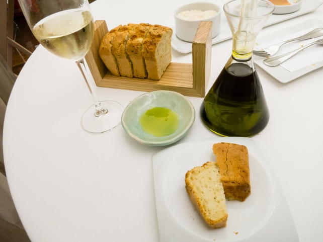 Homemade bread and Lagrima EVOO at Restaurante RiFF, Valencia, Spain