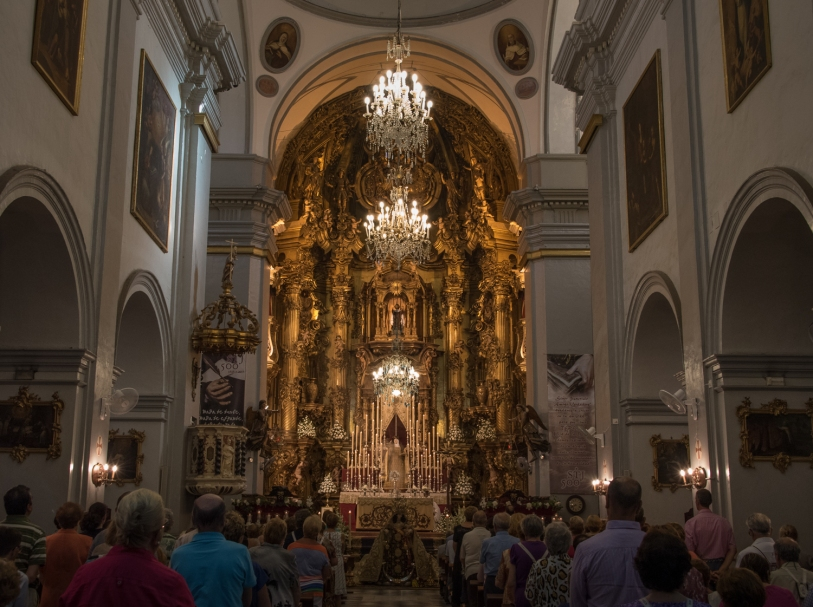 Iglesia Carmen mass in Casco Antiguo (Old Town), Cadiz, Spain