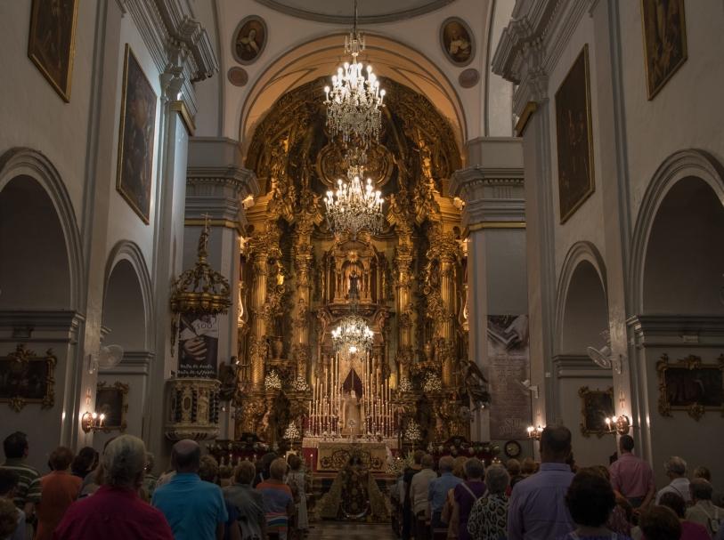 Iglesia Carmen mass in Casco Antiguo (Old Town), Cadiz, Spain
