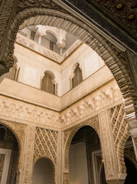 Interior arches and Moorish architecture details, Reales Alcázares de Sevilla, Sevilla, Spain