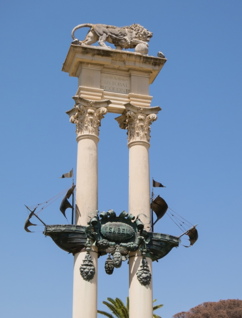 Memorial column to Cristobal Colon (the Spanish name of the explorer known in English as Christopher Columbus), Sevilla, Spain