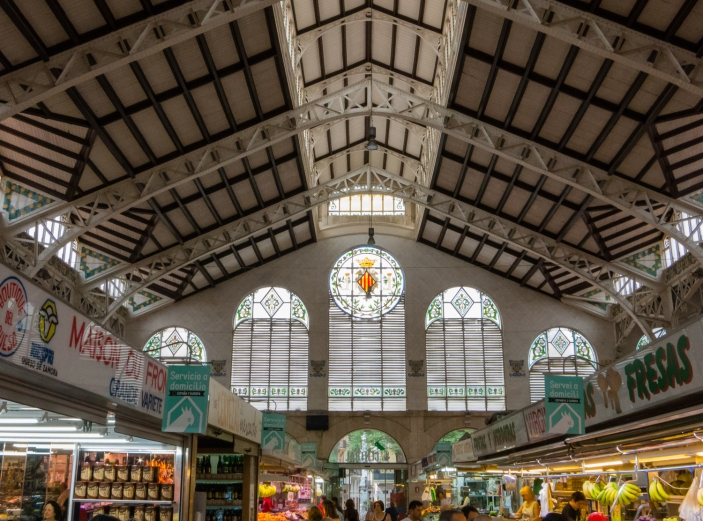 Mercado Central (Central Market) stained glass windows, Valencia, Spain