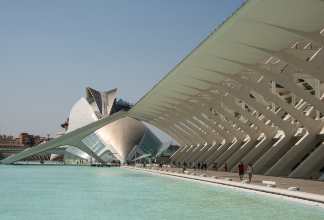 Modern geometric design composite -- Palau de les Arts Reina Sofía, Hemisferic, and Museo de las Ciencias Principe Felipe at the City of Arts and Sciences, Valencia, Spain