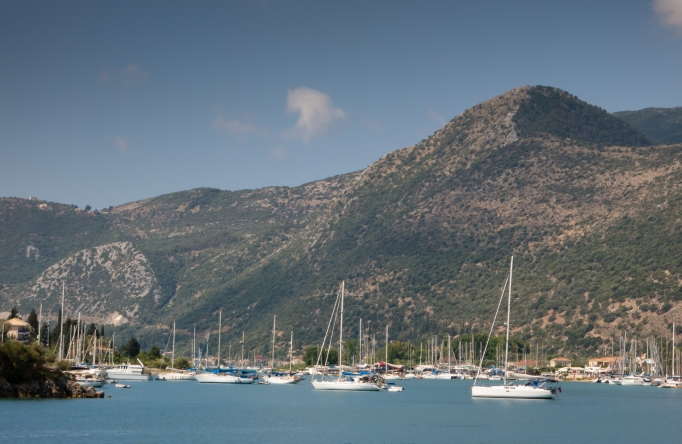 Nydri harbor on Lefkada Island, Greece