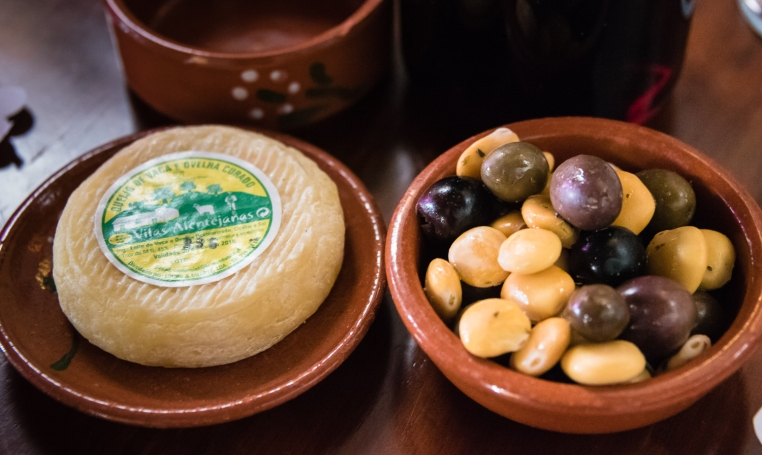 Olives and fresh local cheese at Petiscaria e Espumanteria, Colares, Portugal