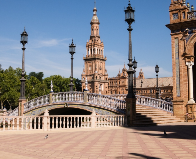 One of several bridges representing the four ancient Kingdoms of Spain at the Plaza de España (Spain Square), located in the Parque de María Luisa (Maria Luisa Park), Sevilla, Spain