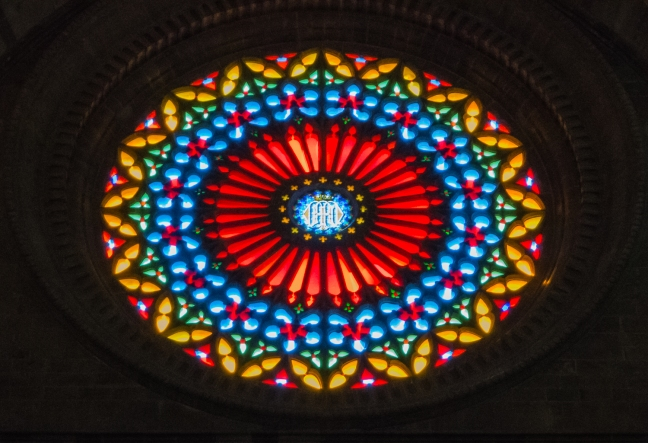 One of several rose windows in The Cathedral Palma de Mallorca, Palma de Mallorca, Mallorca, Spain
