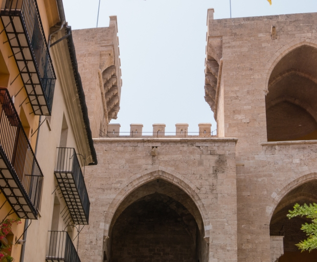 One of two remaining historic city wall gates, Valencia, Spain