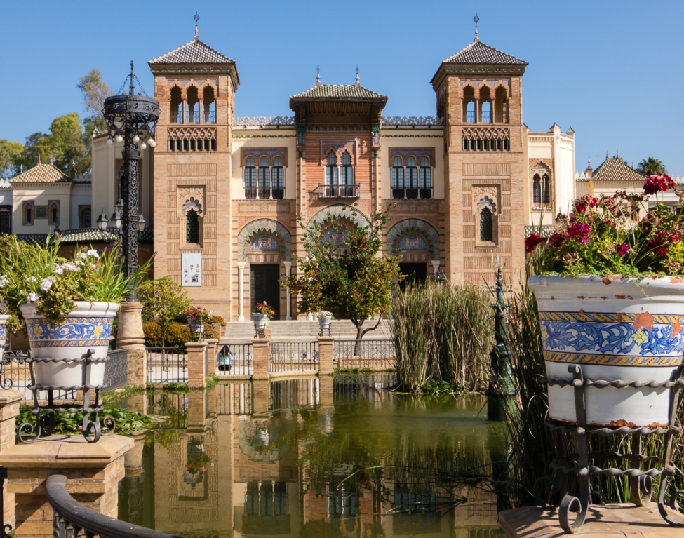 Pabellón Mudéjar, Museo de Artes y Costumbres Populares (The Museum of Arts and Traditions of Sevilla in the Mudéjar Pavilion) in Maria Luisa Park, in Plaza de America, Sevilla, Spain