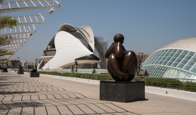 Palau de les Arts Reina Sofía (Queen Sofia Palace of the Arts), Sculptures, and the Hemisferic (The Eye of Wisdom) at the City of Arts and Sciences, Valencia, Spain