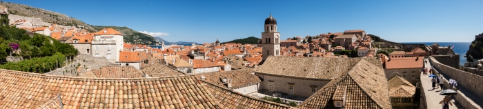 Panorama of the rooftops viewed from the city wall of Dubrovnik, Croatia