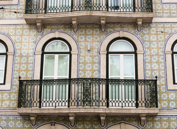 Portuguese tile residences exterior, Lisboa, Portugal