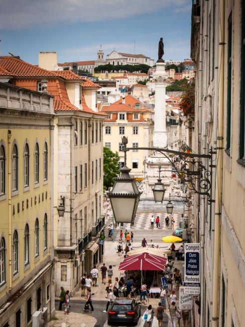 Praça da Rossio viewed from R. da Condessa, Lisboa, Portugal