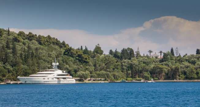 Private yacht of Russian oligarch leasing Onassis' Skorpios Island (east of Lefkada Is.), Greece