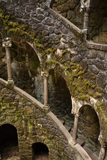 """Quinta da Regaleira Gardens, Initiatic Well (a """"subterranean tower""""), Sintra, Portugal"""