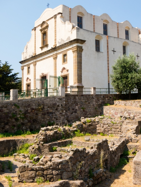 Roman era ruins from the Lipari Acropolis and Catholic church, Lipari Town, Lipari, Italy