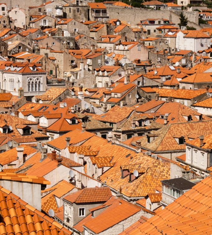 Rooftops, viewed from city wall, Dubrovnik, Croatia