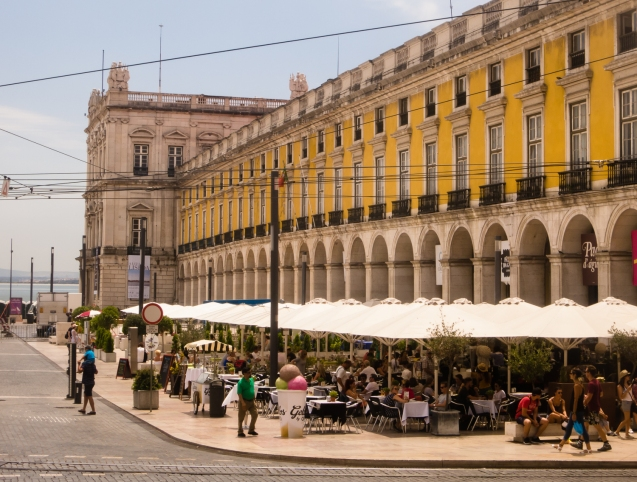 Sidewalk cafes at Praça do Comércio, Lisboa, Portugal